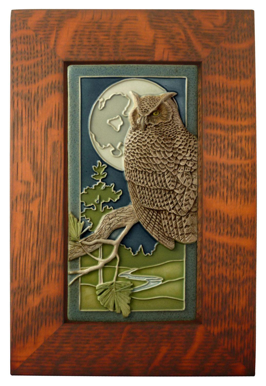 Framed Ceramic Tile Night Owl Art Tile Wall Decor Sculpture 4x8 Inches Tile Art Tile Wall Art Art