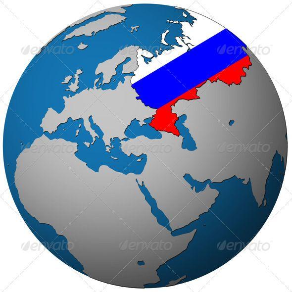 Russia flag on globe map photodune vamos a rusia 2018 pinterest russia flag on globe map photodune gumiabroncs Images