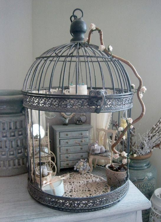 Miniature doll house in a cage by Natalia Volchkova #dollhouses