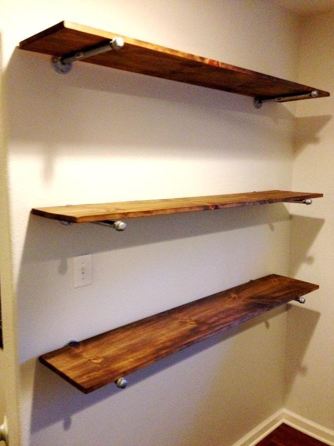 how to make rustic shelves at http plumbersurplus com shelving rh pinterest com how to diy rustic shelves how to make rustic shelf with pipe