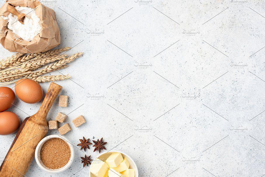 Ingredients For Baking On Background Baking Wallpaper Baking Bakery Logo Design