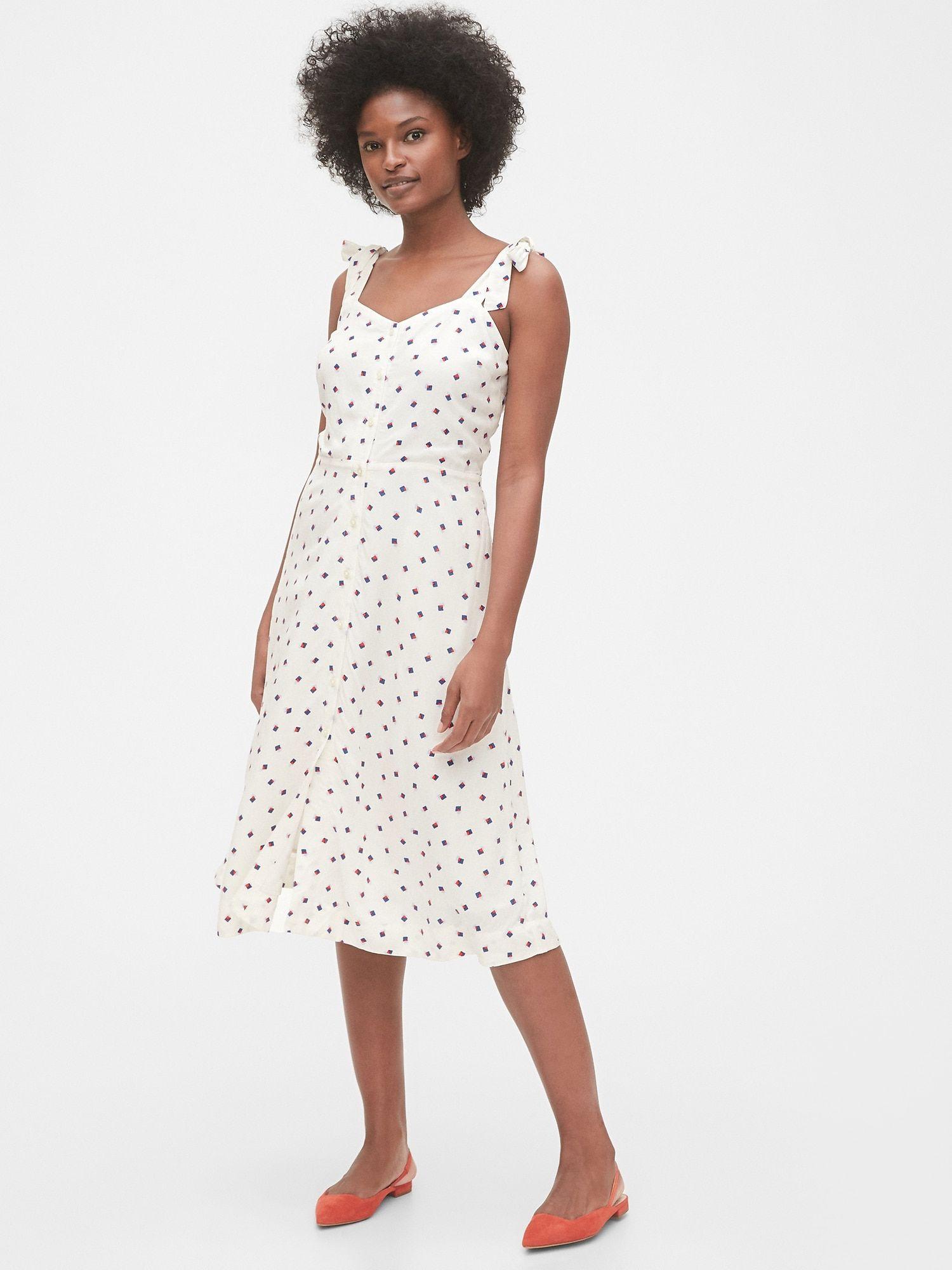 Gap Tie Strap Cami Midi Dress White Print Cami Midi Dress Midi Dress White Midi Dress [ 2000 x 1500 Pixel ]