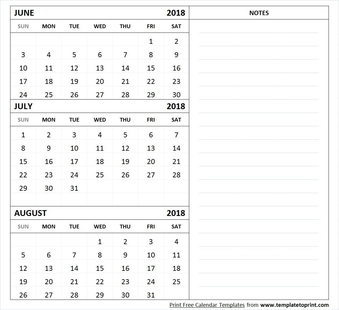 Calendar July August 2018 Printable Template Free Download