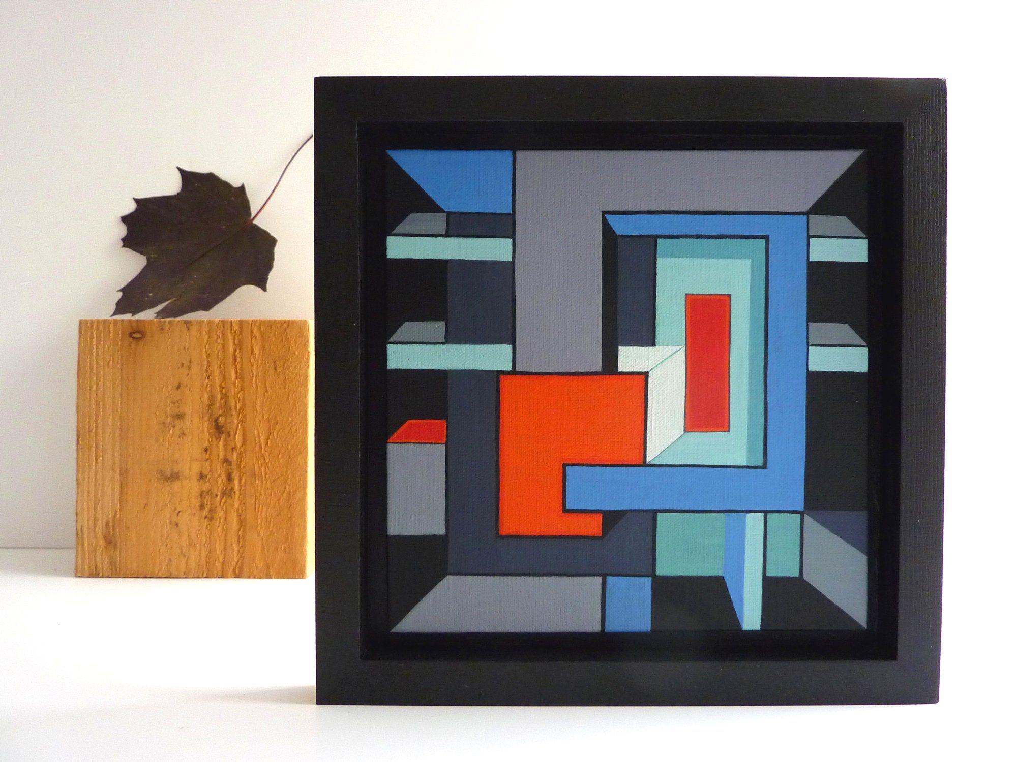 Constructivist Geometric Painting Modern Wall Art Framed In Customised Frame Geometric Painting Geometric Art Modern Wall Art