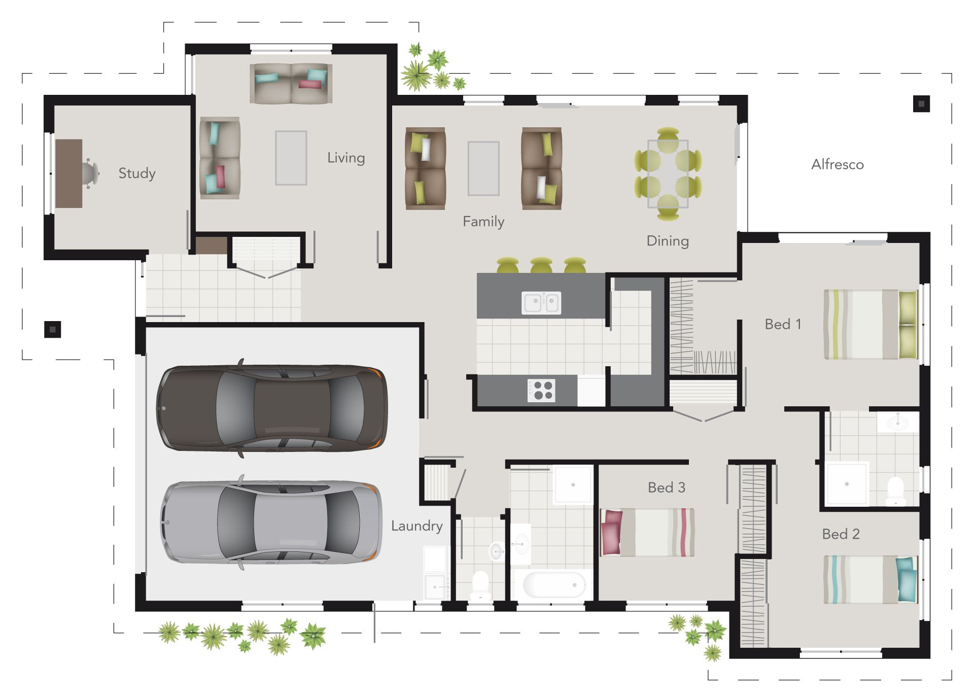 G j gardner wright plan 3 bedroom floor plan with study for Living room floor plan