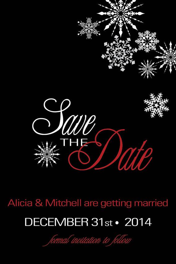 christmas winter save the date snowflakes wedding black white