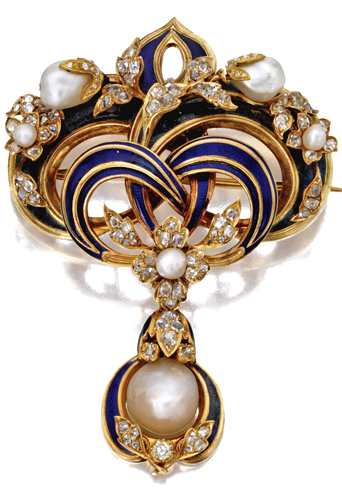 GOLD, NATURAL PEARL, DIAMOND AND ENAMEL BROOCH, RUSSIAN, CIRCA 1860 The top designed as a stylized fleur-de-lys applied with royal blue enamel and decorated with branches of blossoms set with old-mine diamonds and baroque pearls, supporting a pearl pendant drop within an enamel and diamond frame, pendant detachable, Russian marks for St. Petersburg and 18 karat gold. #RussianPearls