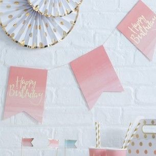 Pick and Mix Pink Ombre Happy Birthday Bunting