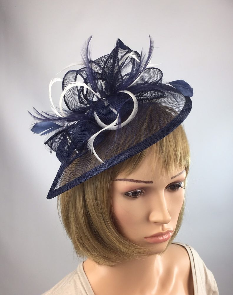 Navy Blue And White Fascinator Occasion Wedding Races Mother Of The Bride  3855e5d8933