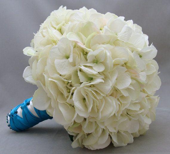 Wedding Bouquet White Silk Hydrangea Groom's Boutonniere - Silk Flower Bridal Bouquet - Choose Your Custom Color Silk Flower Hydrangea