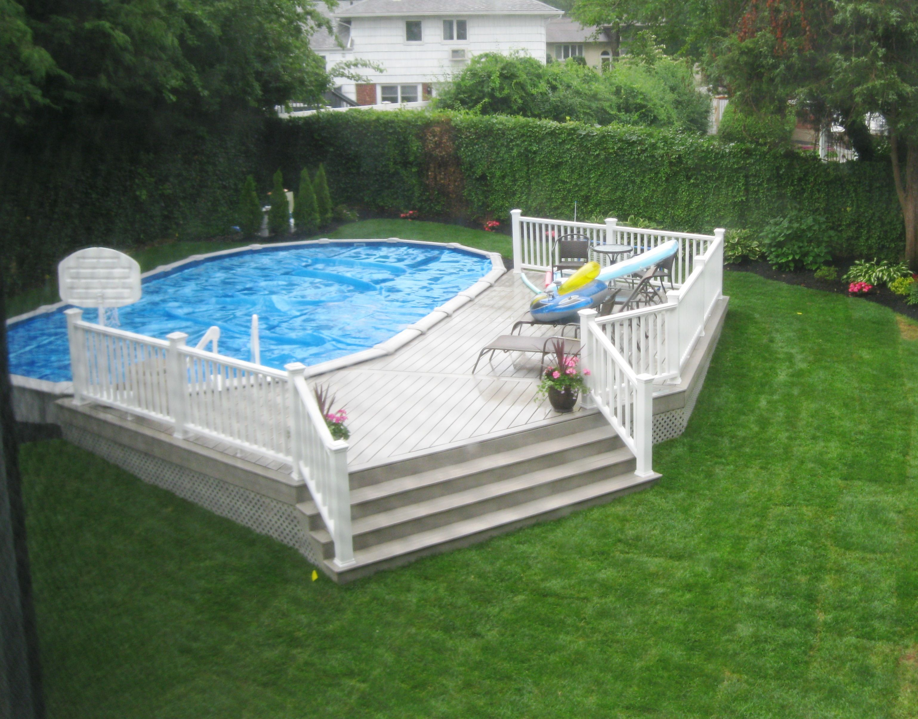 18x33 semi inground pool with deck - Inground Pool Patio Designs