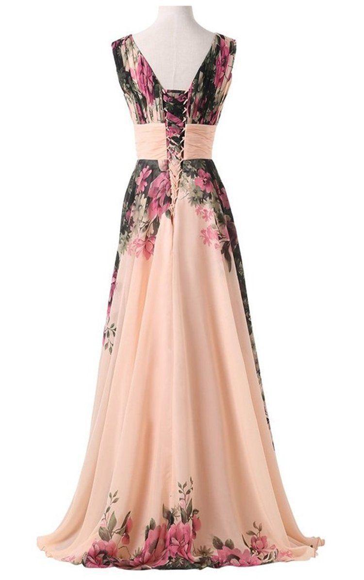 953c3d9e9cef8 abito da cerimonia donna in chiffon damigella vestito lungo elegante  floreale
