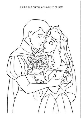 Print Coloring Disney Wedding Coloring Pages Princesses About 37