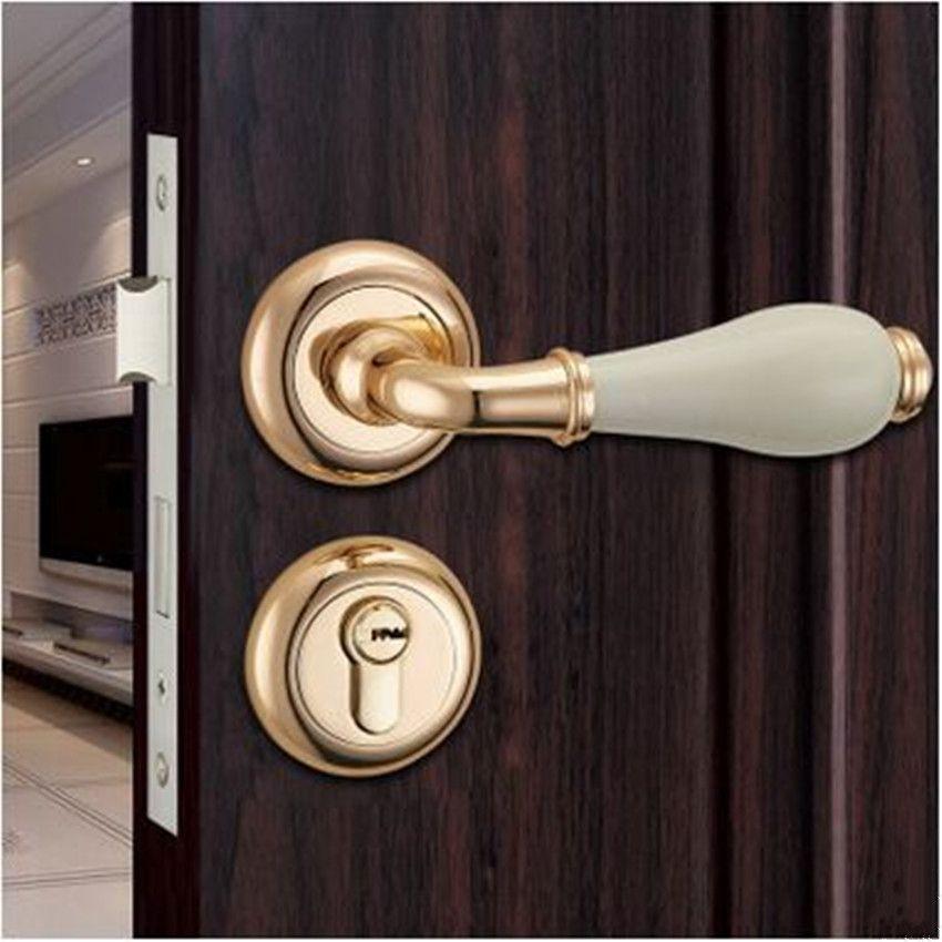 Printed Ceramic Split Lock Door Lock Gold Interior Door Lock Handle White Ceramic Bedroom Study Toilet Kitchen W Brass Bedroom Solid Wood Doors Doors Interior
