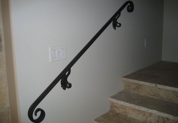 Angels Installed This Simple Wrought Iron Wall Mount Handrail In | Decorative Handrails For Stairs | Main Entrance | Solid Wood | Different Style | Elegant | Steel Pipe