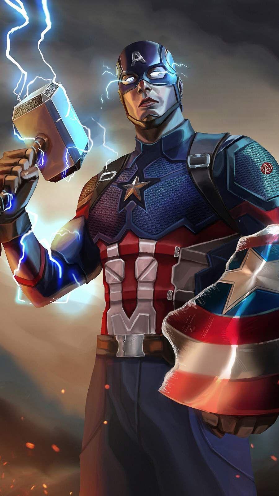 Captain America Mjolnir Artwork Iphone Wallpaper Captain America Art Captain America Wallpaper Captain America Comic