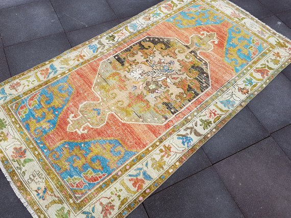4 2 X8 1 Antique Oushak Rug Anatolian Rug Size 128 X 248 Cm Faded