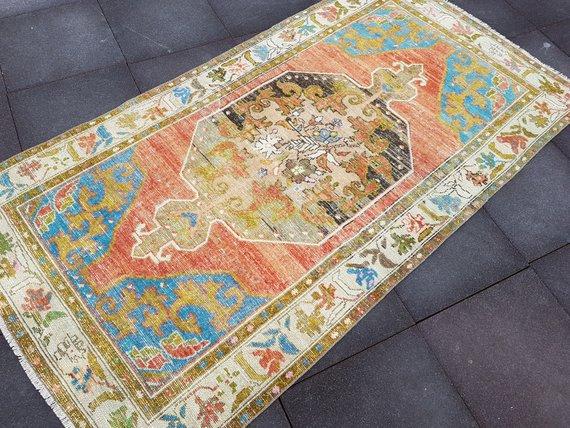 4 2 X8 1 Antique Oushak Rug Anatolian Rug Size 128 X 248 Cm Faded