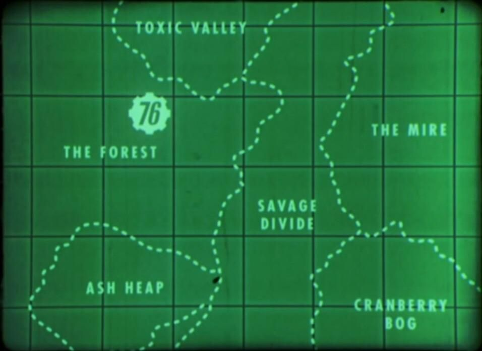 This is the general map of Fallout 76   War Never Changes   Fallout Fallout Dc Map on