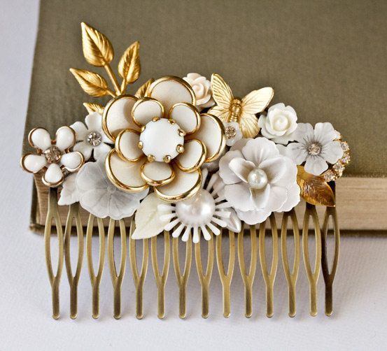 Bridal Hair Comb Vintage Wedding Shabby Chic Bride