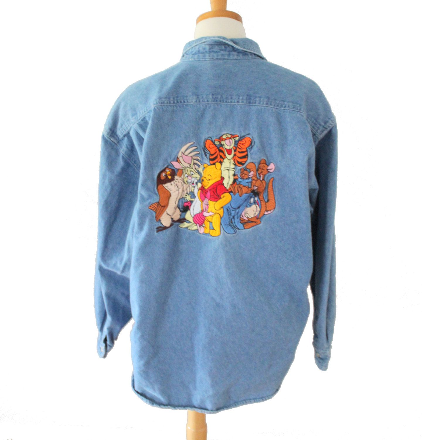 7e3c091c Vintage 90s Winnie the Pooh Tigger Embroidered Denim Shirt // Women L //  The Disney Store by bluebutterflyvintage on Etsy