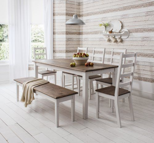 Table And 5 Chairs Bench Canterbury Dining In Contemporary Dark Pine White Noa