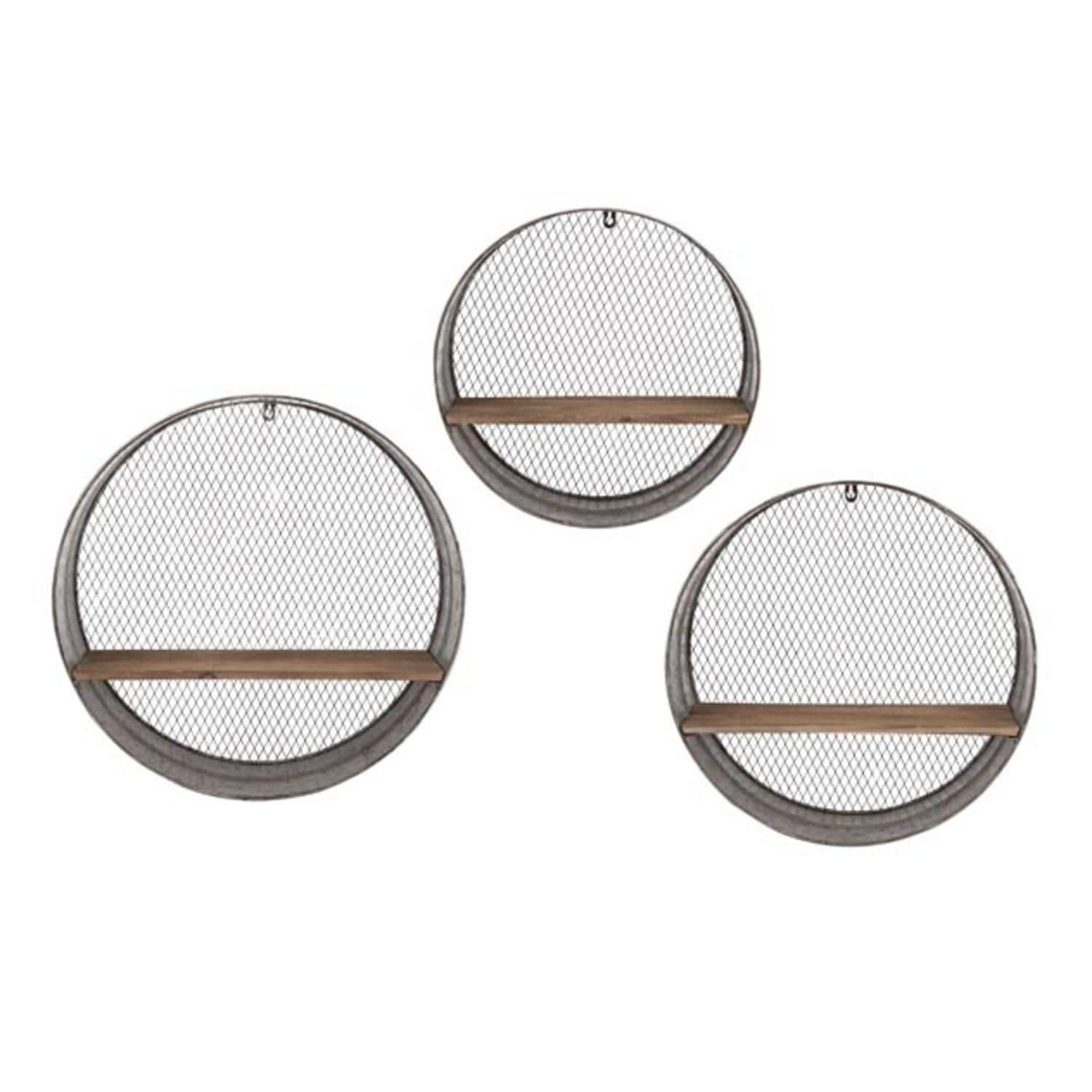 Imax set of industrial style lattice patterned round wooden wall