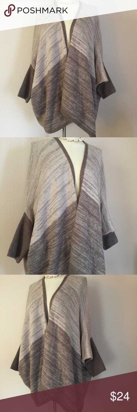 Calvin Klein Cocoon Taupe Stripe Waterfall Sweater Taupe and cream ...