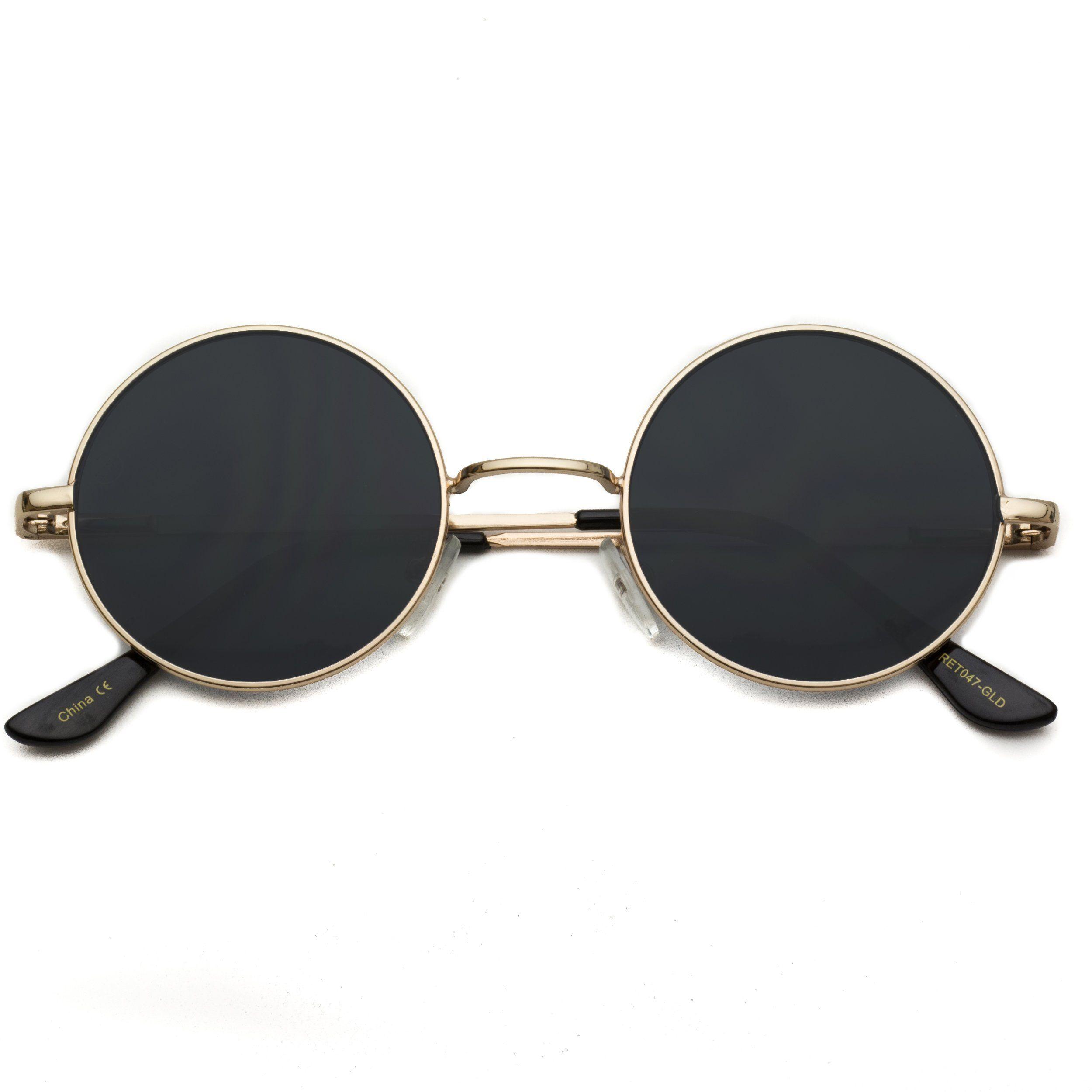 f02dbc37ec0 Ethel Retro Round Metal Hippie Sunglasses - John Lennon Inspired Sunglasses