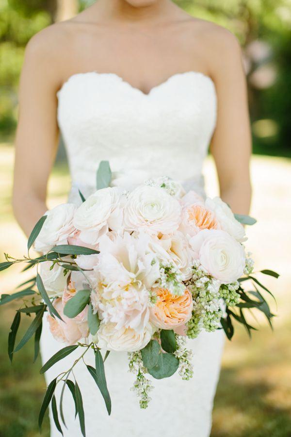 romantic peony, peachy garden rose and ranunculus bouquet by La Tee Da