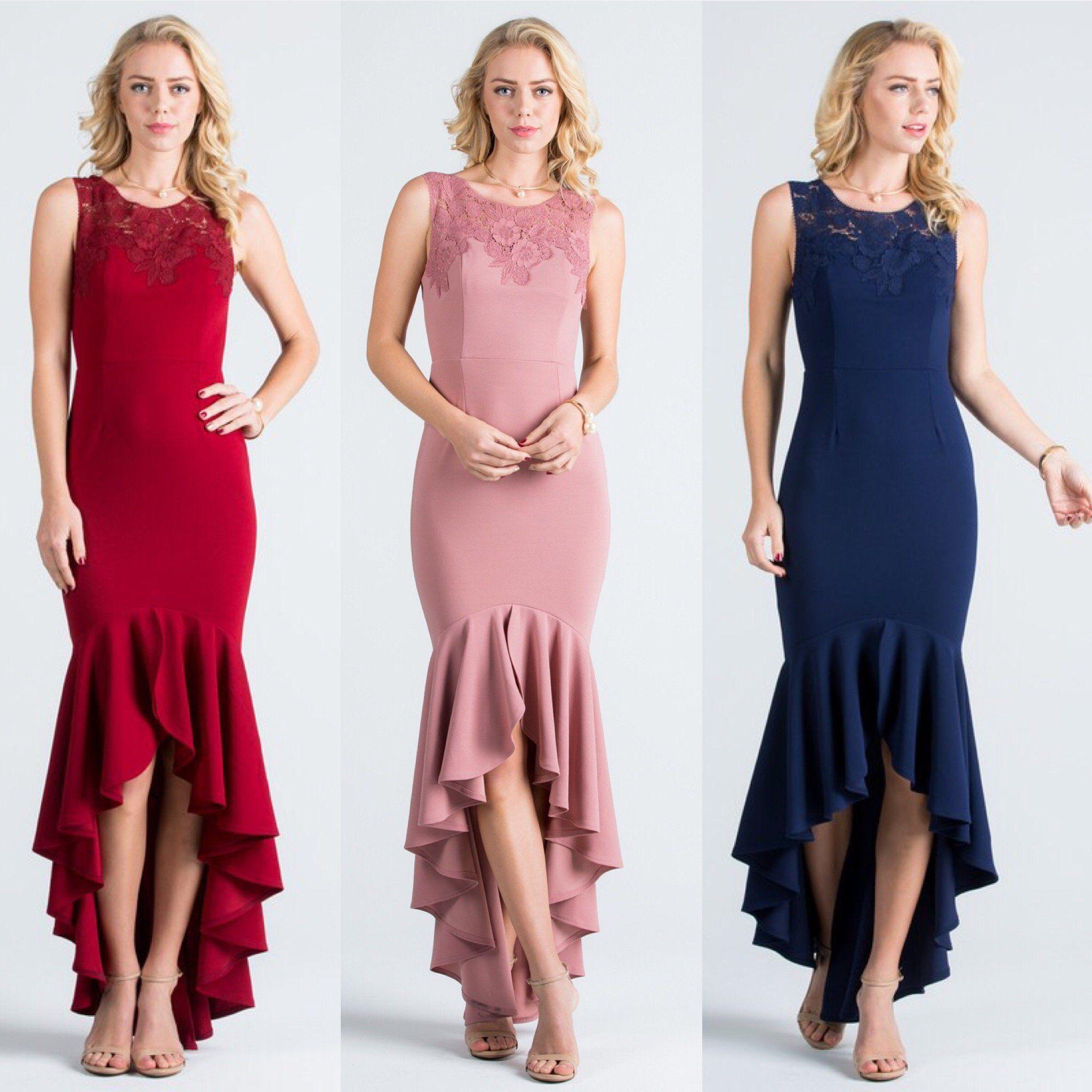 Ella Affordable High low mermaid bridesmaid dress in Navy, Burgundy ...