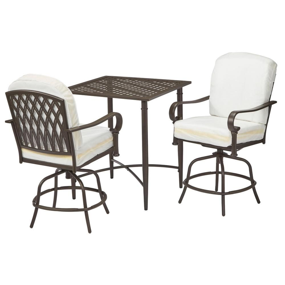Hampton Bay Oak Cliff 3 Piece Patio Balcony Height Bistro Set With Cushion Insert Slipcovers Sold Separately
