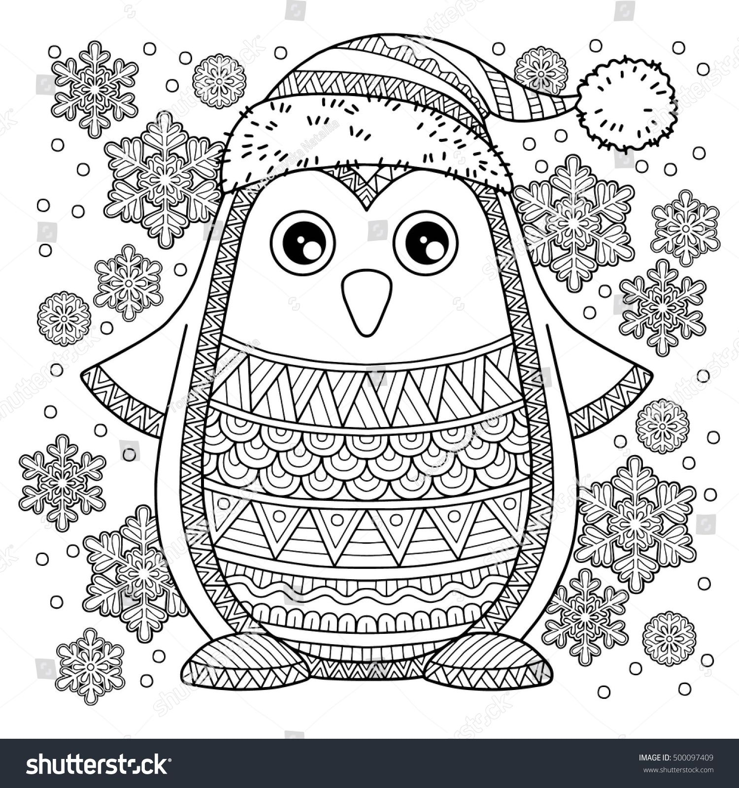 Merry christmas jolly penguin the detailed coloring for Penguin adult coloring pages