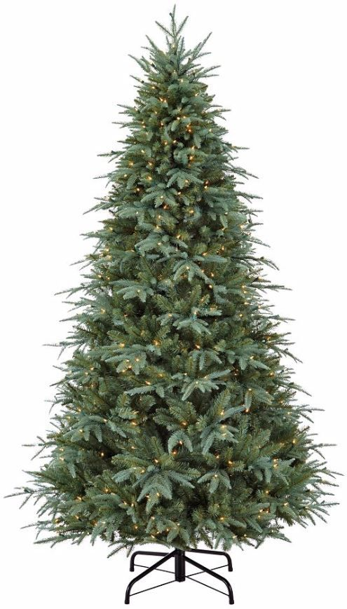 CANVAS Powered by Noma Pre-Lit Glacier Blue Spruce Christmas Tree is 7'  (2.13 m) tall. It features the look and feel of a real Blue Spruce Tree and  emits a ... - CANVAS Powered By Noma Pre-Lit Glacier Blue Spruce Christmas Tree Is