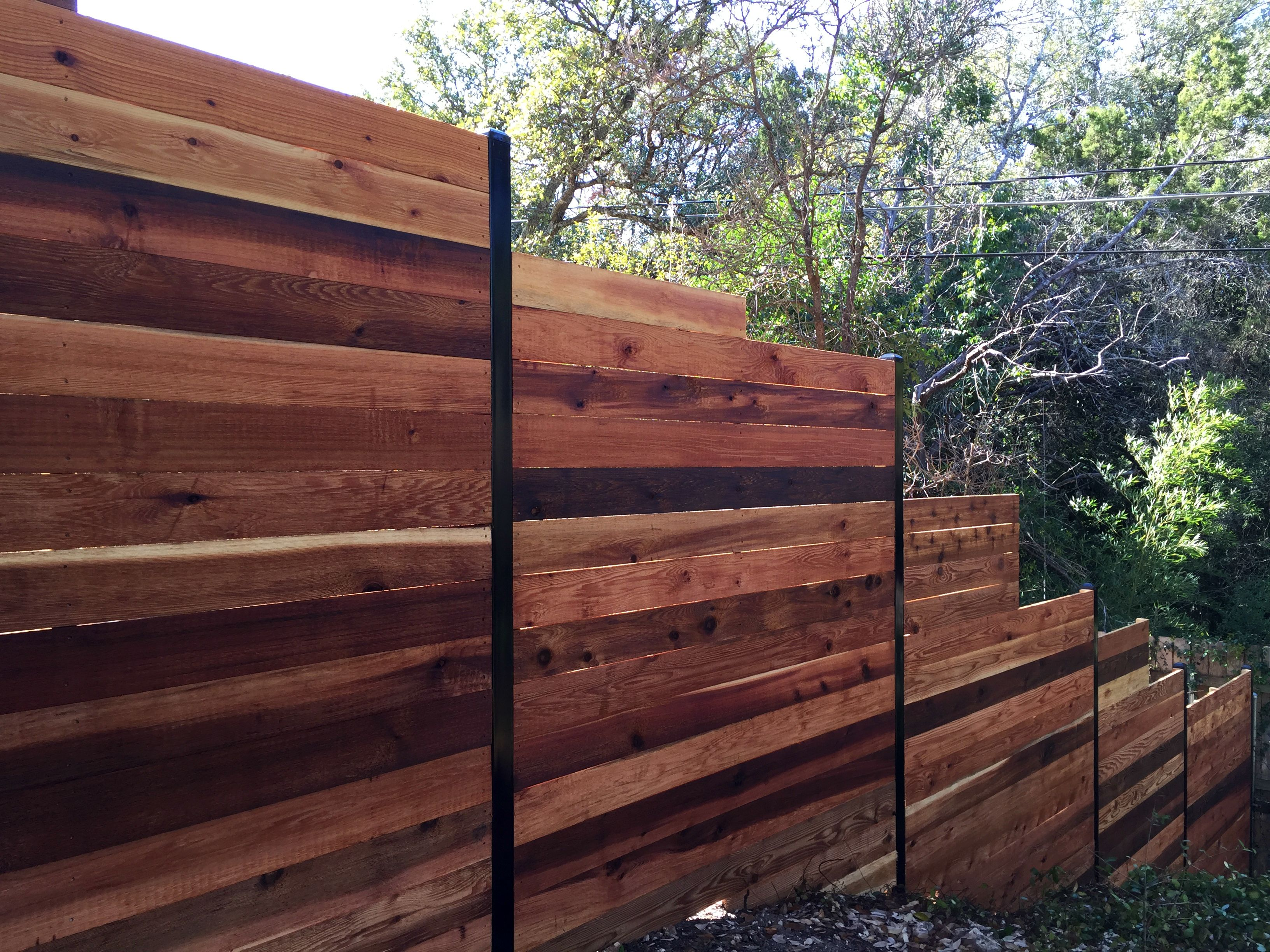 6 H Horizontal Cedar Privacy Framed Between 3 Black Steel Posts Check Out Www Fence4atx To See More Great Ideas For Your Property