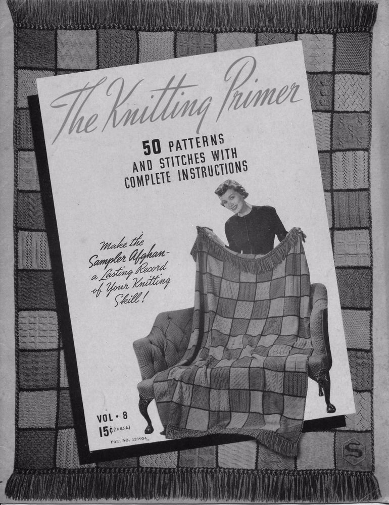 Bear Brand 8 Knitting Primer Sampler Afghan 50 Easy Stitches Patterns 1940 #BearBrandFleisherYarns #KnittingPatterns