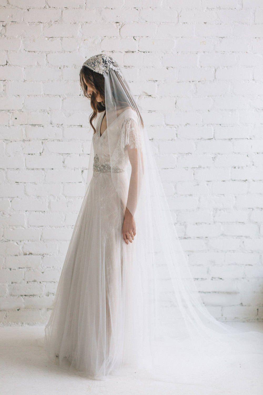 Opal Swarovski Crystal Wedding Veil , Juliet Cap Veil