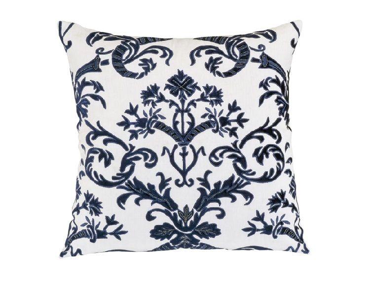 Mackie European Pillow White Linen / Navy Velvet (28 x 28) L233LWM-V