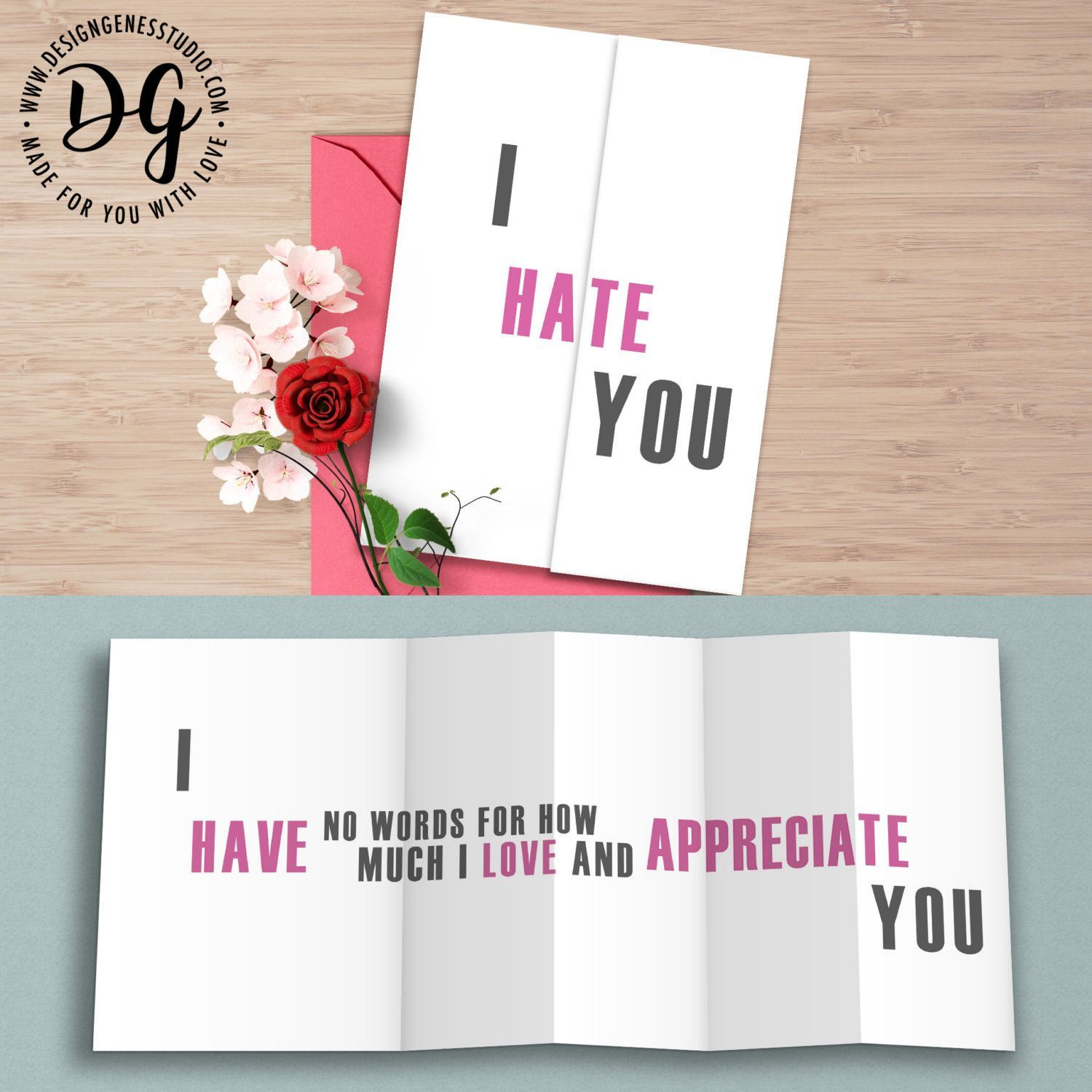 """Funny anniversary card """"I hate you"""" Hidden Message Card"""