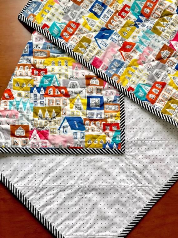 Colorful House Baby Quilt | Black & White | Gender Neutral ...