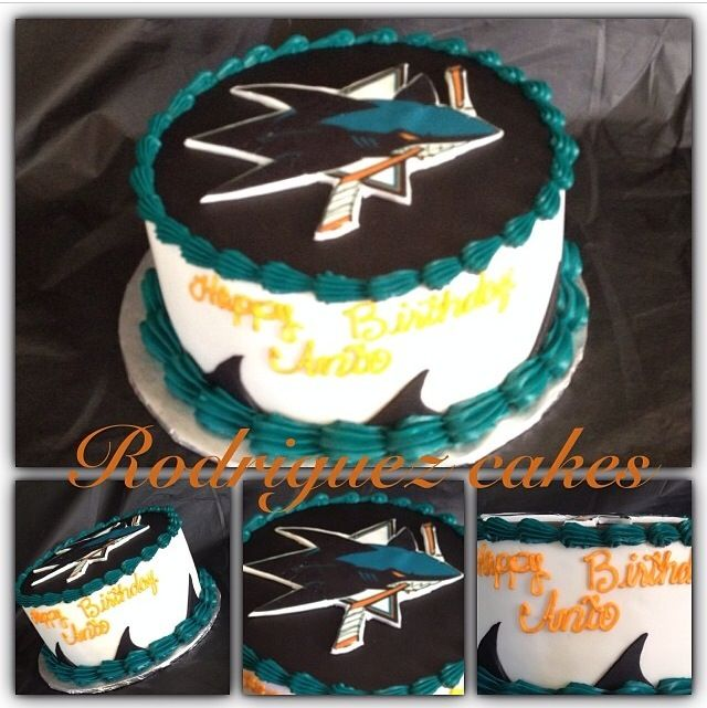 Sj sharks cake | Cakes | Shark birthday cakes, Shark cake, Hockey ...