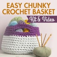 Easy Chunky Crochet Basket Kit & Video | InterweaveStore.com / kit incl. video tutorial, yarn, digital pattern & crochet hook / CROCHET pattern kit