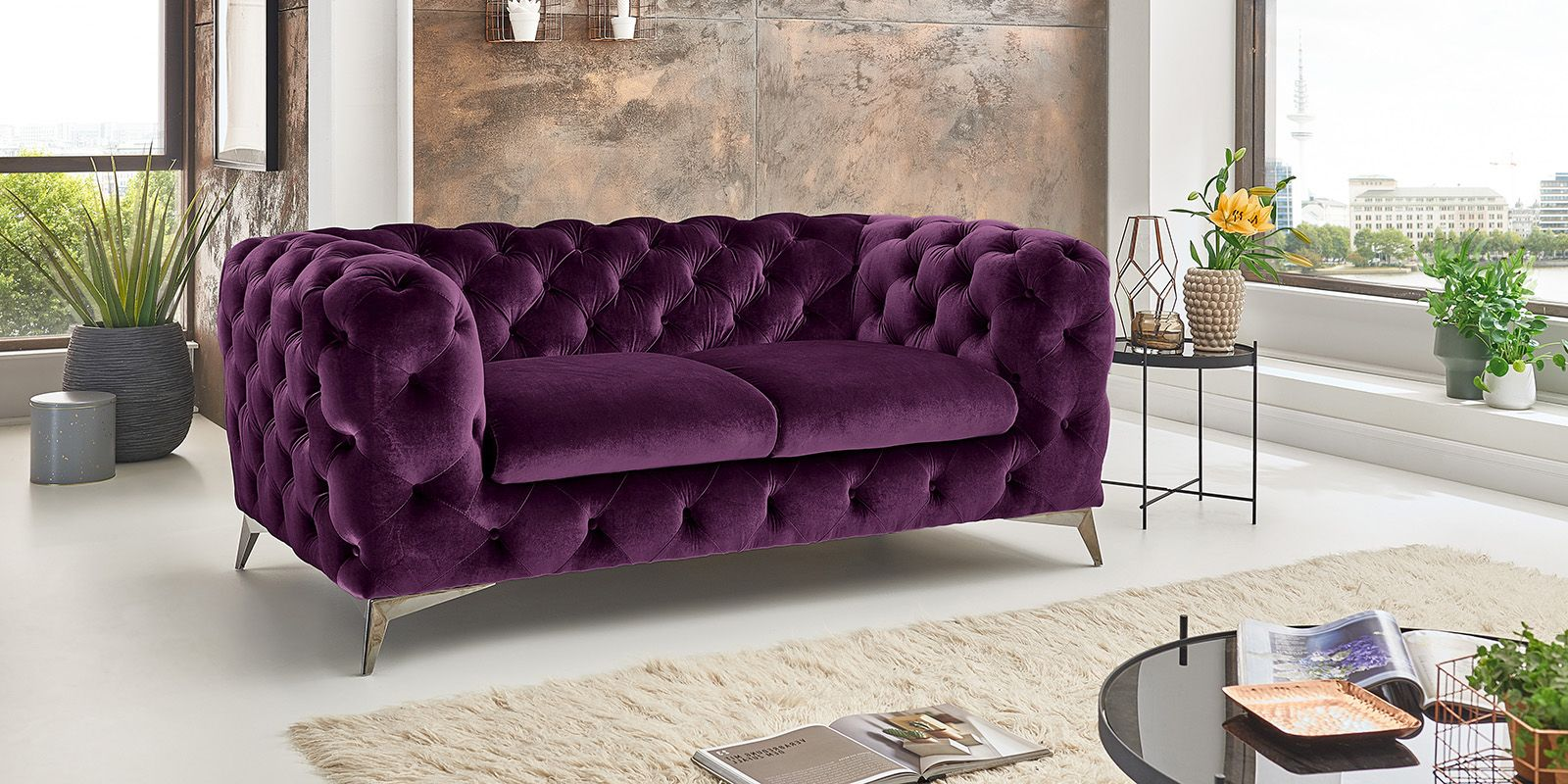 Barock Möbel Bei Otto 2 Sitzer Chesterfield Sofa Big Emma Samt Purple Lila