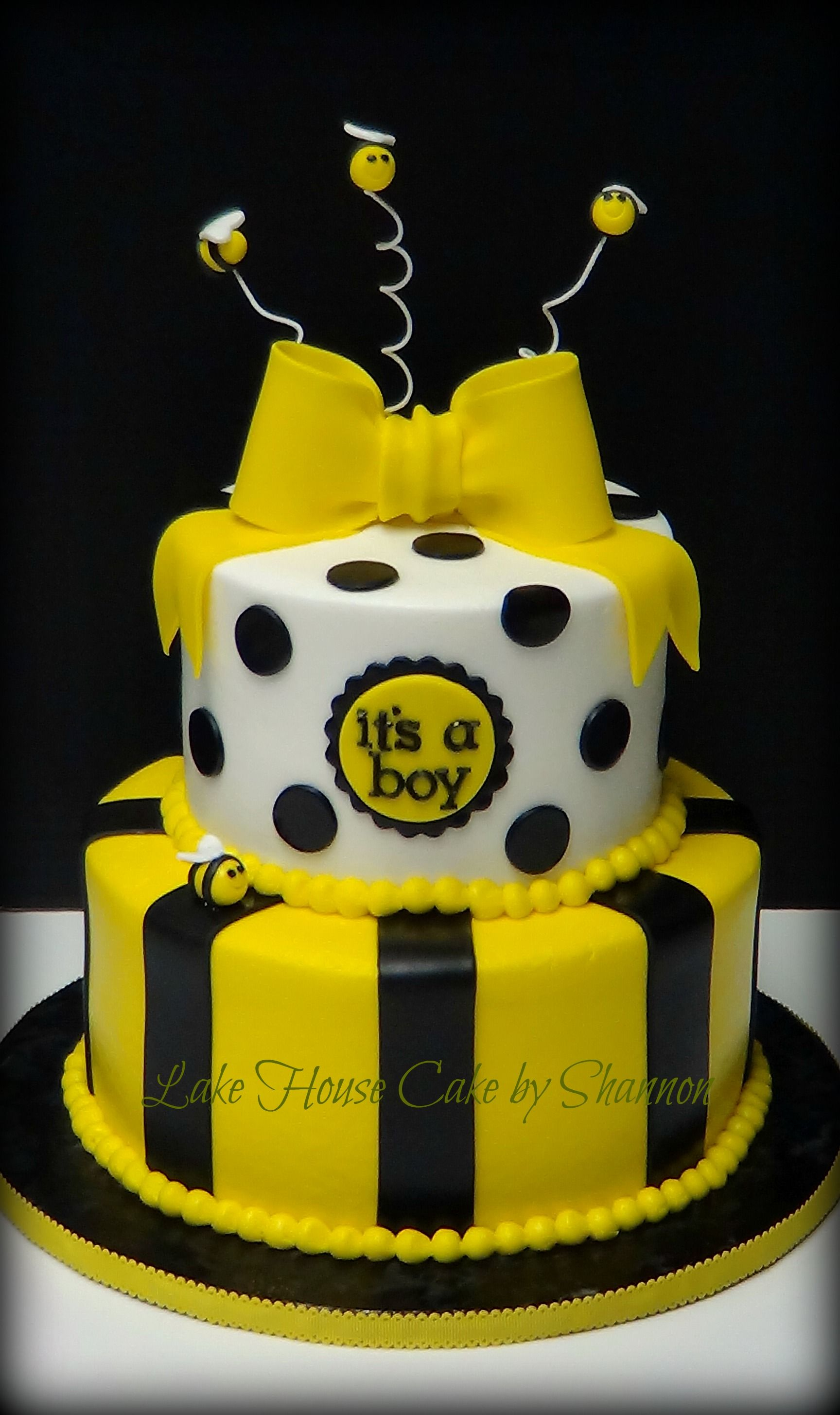 Baby Shower Cake Black White Yellow Polka Dots Stripes 2 Tiered