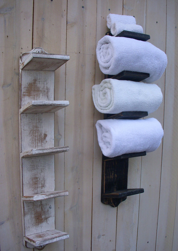 Two Wood Towel Rack Storage
