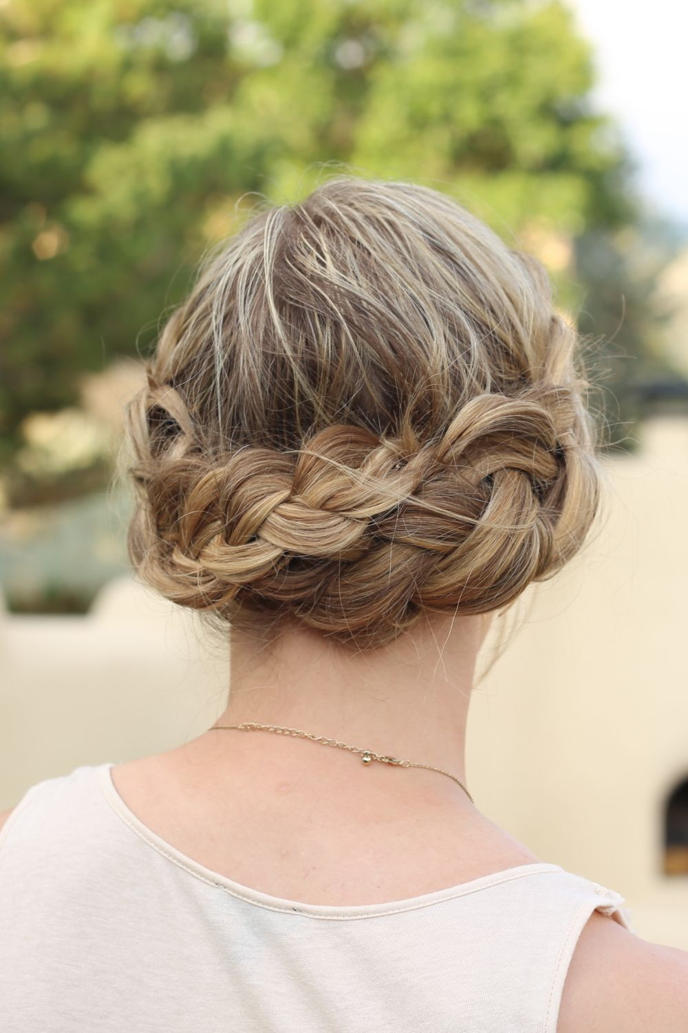 Braided crown hairstyle hair braid braids updo casual formal style