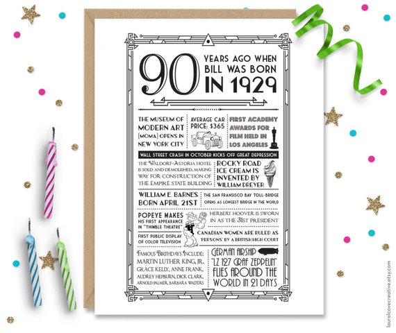 Personalized 90th Birthday Card 1929 Facts And Events
