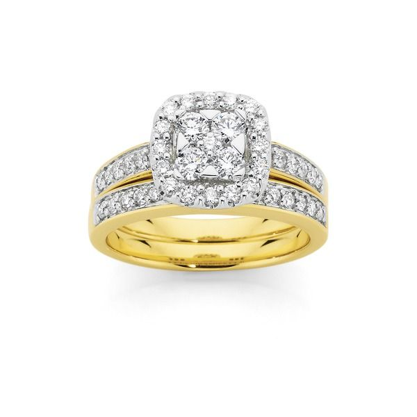 18ct Gold Two Tone Diamond Bridal Ring Set Angus Coote Ring