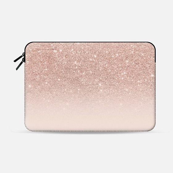 Modern Faux Rose Gold Glitter Ombre Blush Pink Macbook