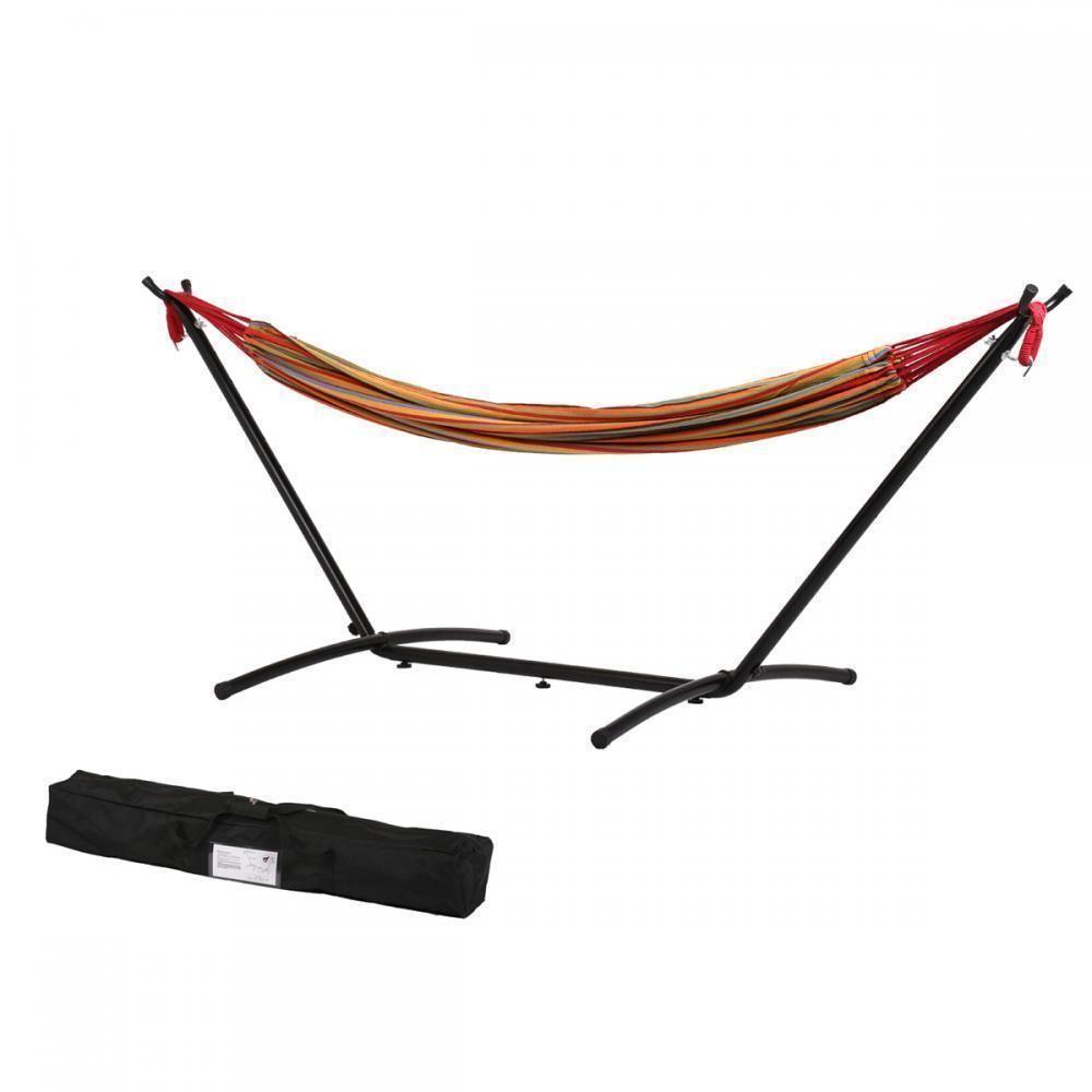 Hammocks blue red double hammock with space saving steel